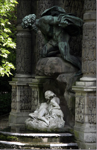 détail de la Fontaine Médicis — Polyphème surplombant Acis et Galathée