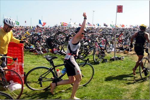 Arrivée de l'épreuve de vélo